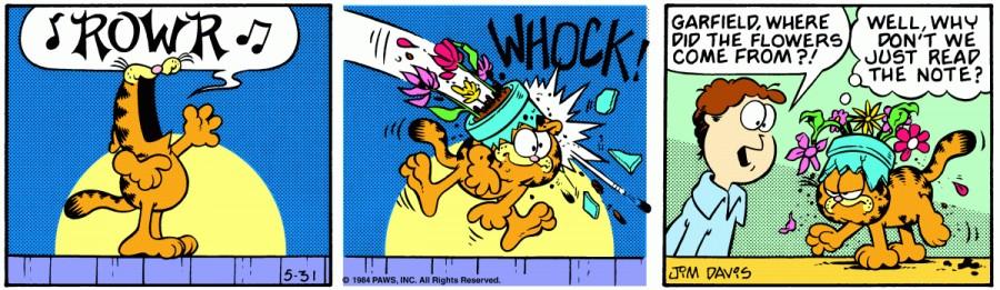 Оригинал комикса про Гарфилда от 31 мая 1984 года