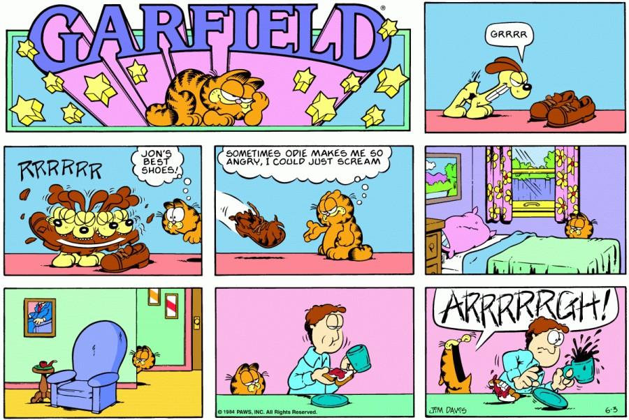 Оригинал комикса про Гарфилда от 03 июня 1984 года