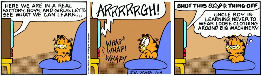 Оригинал комикса про Гарфилда от 06 июня 1984 года