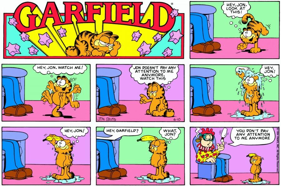 Оригинал комикса про Гарфилда от 10 июня 1984 года
