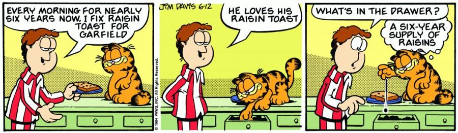 Оригинал комикса про Гарфилда от 12 июня 1984 года