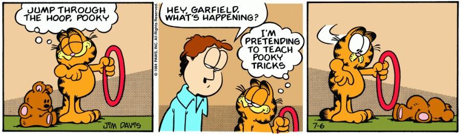 Оригинал комикса про Гарфилда от 06 июля 1984 года