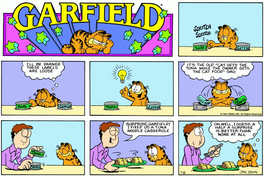 Оригинал комикса про Гарфилда от 08 июля 1984 года