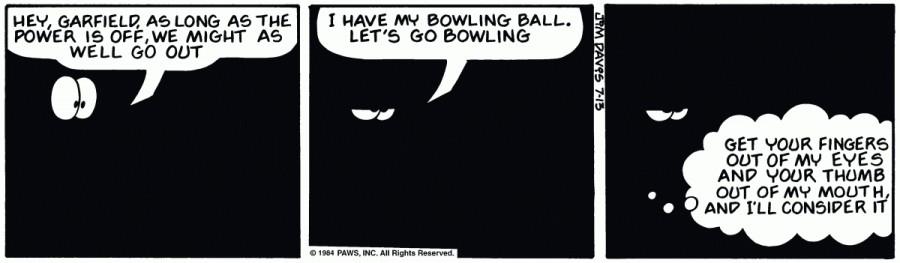 Оригинал комикса про Гарфилда от 13 июля 1984 года