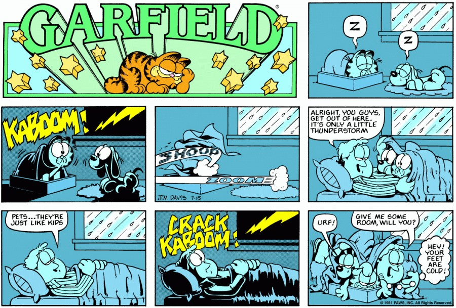 Оригинал комикса про Гарфилда от 15 июля 1984 года
