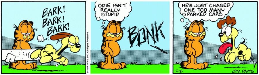 Оригинал комикса про Гарфилда от 18 июля 1984 года