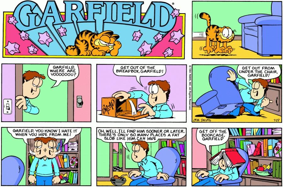 Оригинал комикса про Гарфилда от 22 июля 1984 года