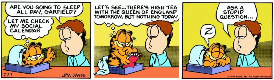 Оригинал комикса про Гарфилда от 27 июля 1984 года