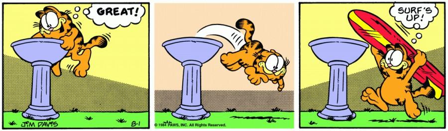 Оригинал комикса про Гарфилда от 01 августа 1984 года