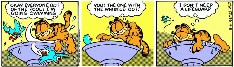 Оригинал комикса про Гарфилда от 03 августа 1984 года