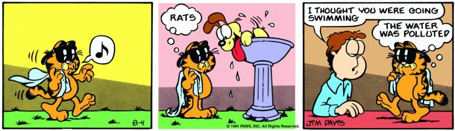 Оригинал комикса про Гарфилда от 04 августа 1984 года