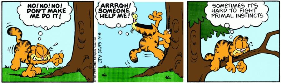 Оригинал комикса про Гарфилда от 06 августа 1984 года