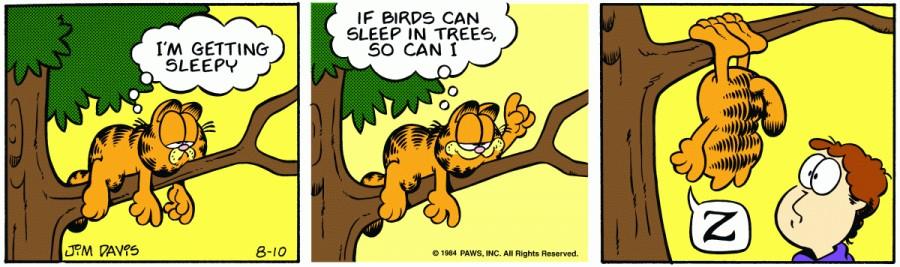 Оригинал комикса про Гарфилда от 10 августа 1984 года