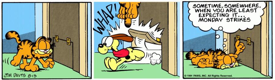 Оригинал комикса про Гарфилда от 13 августа 1984 года