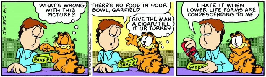 Оригинал комикса про Гарфилда от 14 августа 1984 года
