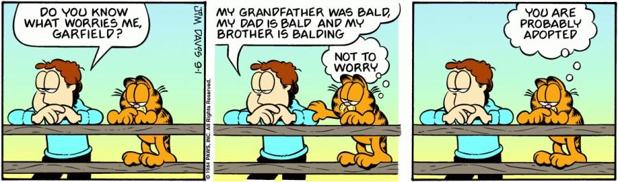 Оригинал комикса про Гарфилда от 01 сентября 1984 года