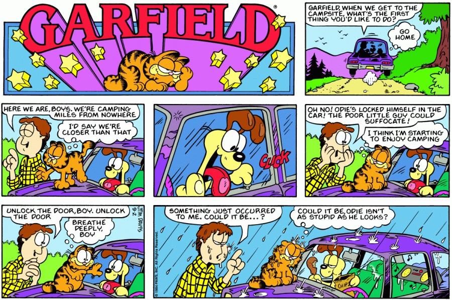 Оригинал комикса про Гарфилда от 02 сентября 1984 года