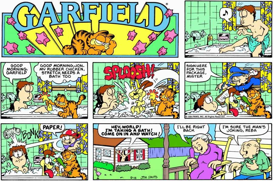 Оригинал комикса про Гарфилда от 16 сентября 1984 года