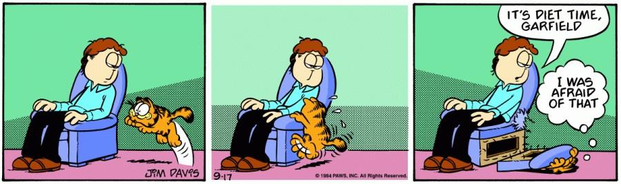 Оригинал комикса про Гарфилда от 17 сентября 1984 года