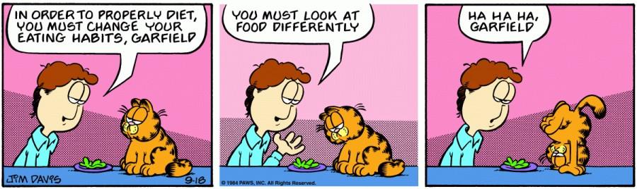 Оригинал комикса про Гарфилда от 18 сентября 1984 года