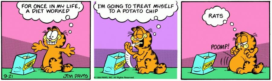 Оригинал комикса про Гарфилда от 21 сентября 1984 года