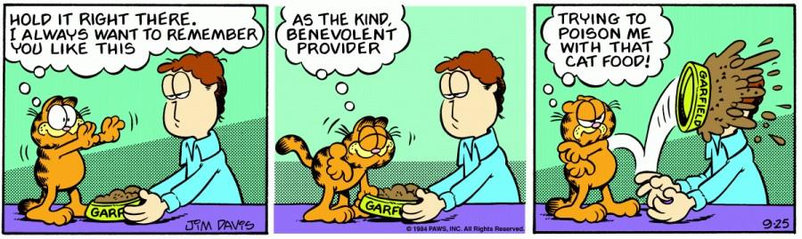Оригинал комикса про Гарфилда от 25 сентября 1984 года