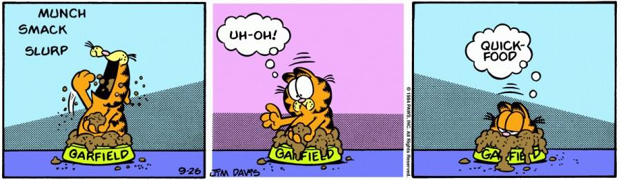 Оригинал комикса про Гарфилда от 26 сентября 1984 года