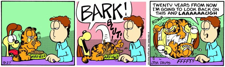 Оригинал комикса про Гарфилда от 27 сентября 1984 года