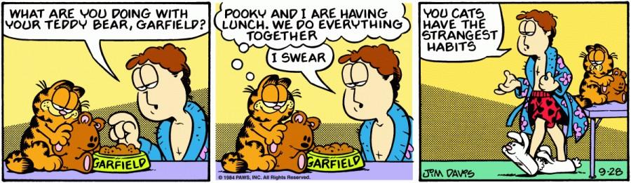 Оригинал комикса про Гарфилда от 28 сентября 1984 года