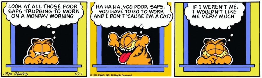 Оригинал комикса про Гарфилда от 01 октября 1984 года