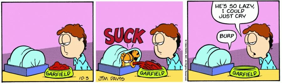 Оригинал комикса про Гарфилда от 03 октября 1984 года