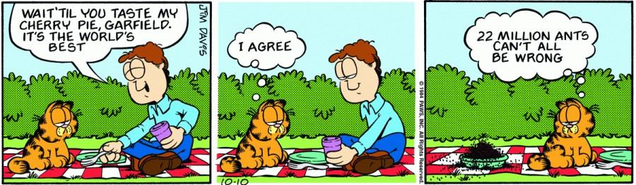 Оригинал комикса про Гарфилда от 10 октября 1984 года
