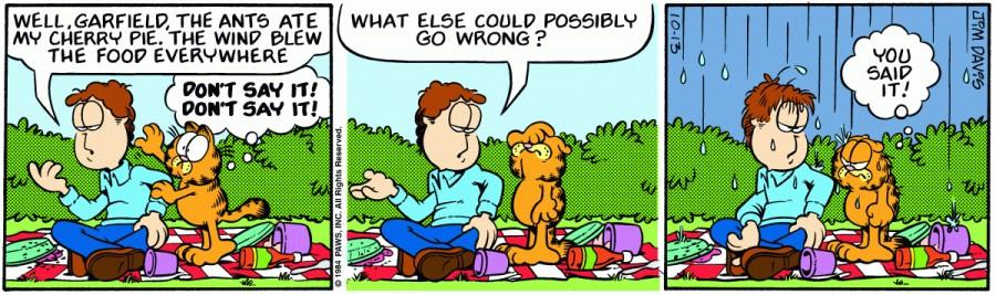 Оригинал комикса про Гарфилда от 13 октября 1984 года