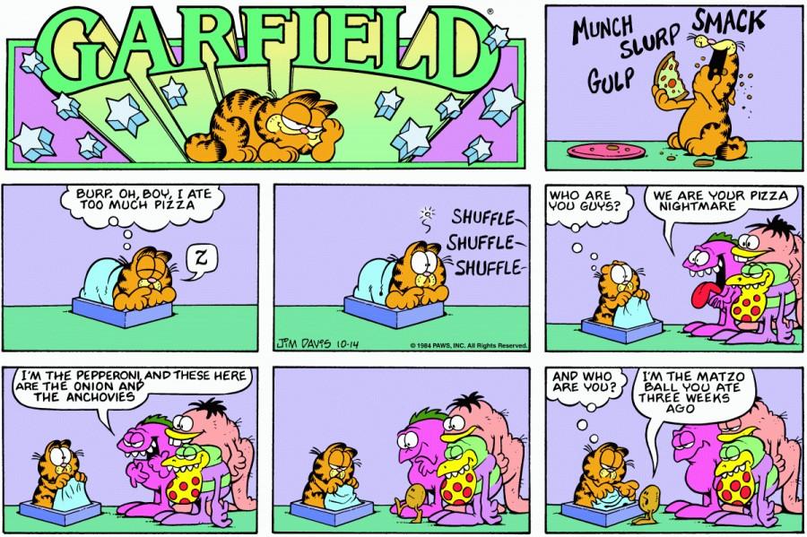 Оригинал комикса про Гарфилда от 14 октября 1984 года